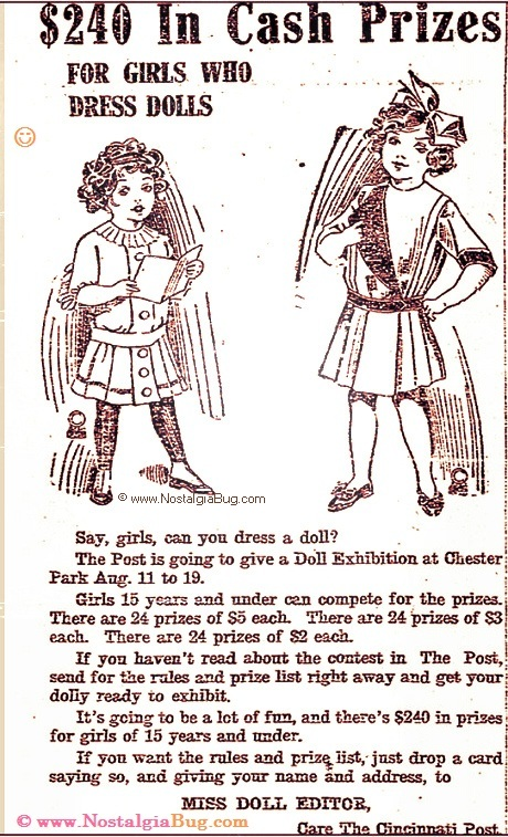Yesteryear Circa 1912 Doll Exhibition Prize Contest for Girls